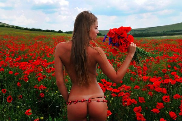 Nude girl And flowers 6